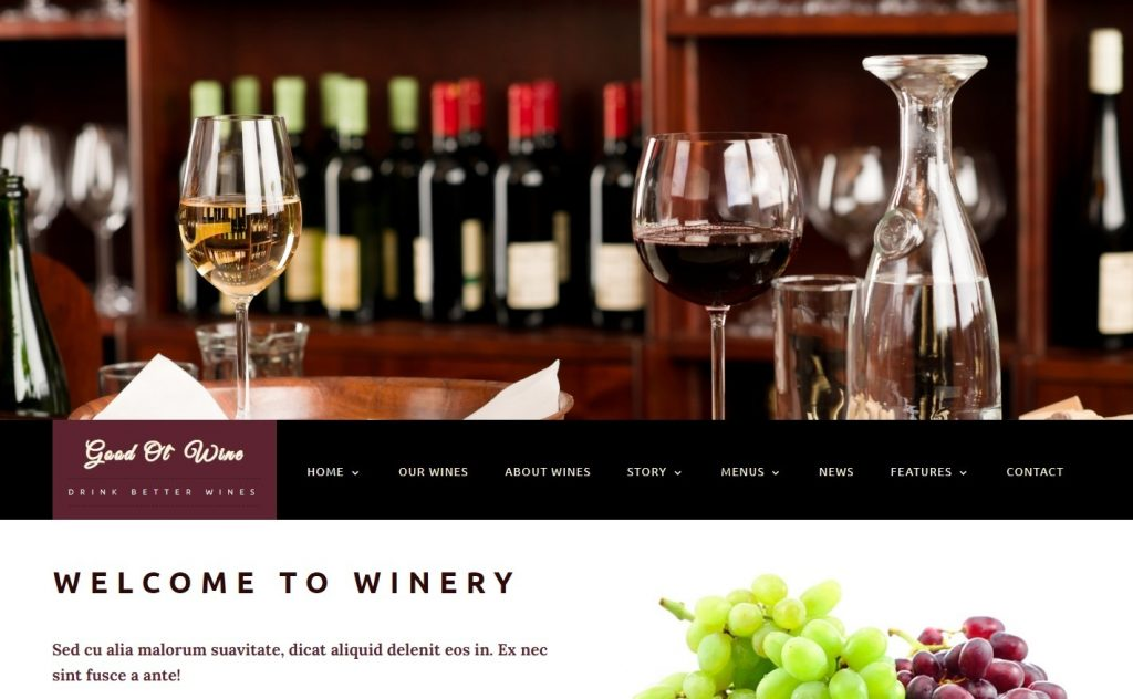 Good Ol Wine WordPress Theme for Promoting Wine Shop