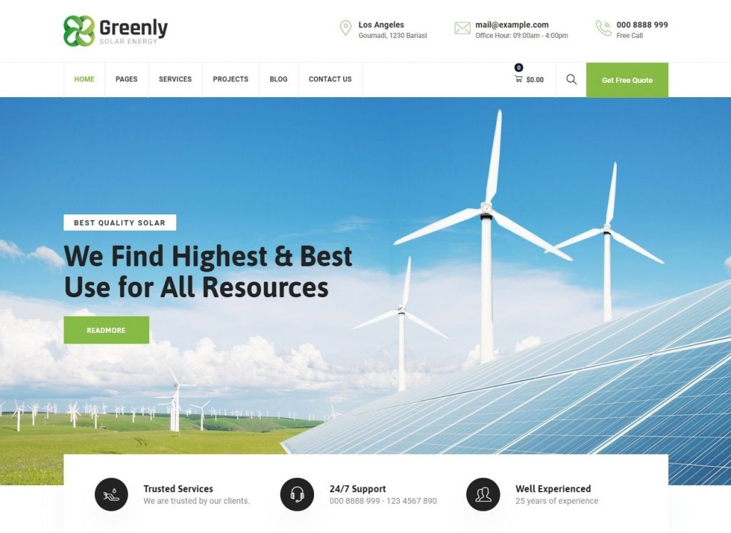 Greenly Ecology Solar Energy WordPress Theme