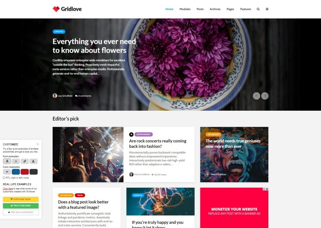 Gridlove, Clean Grid WordPress Themes