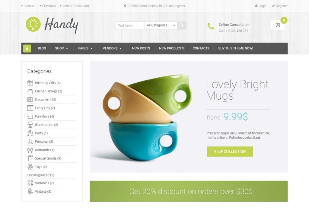 Handy WordPress Theme for Building a Crafts Store Online