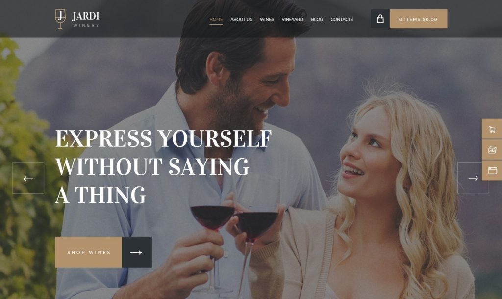 Jardi WordPress Theme for Online Wine Sales