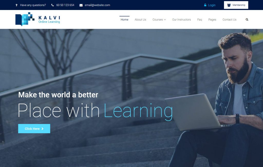 Kalvi LMS Education WordPress Template