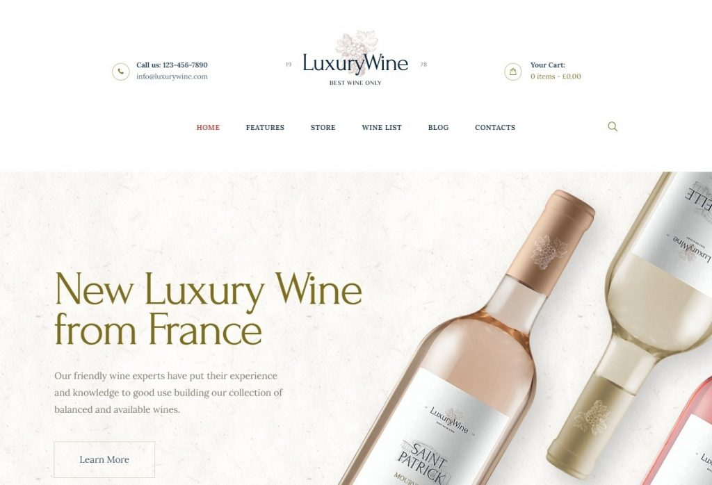 Luxury Wine WordPress Theme for Wine Shops and Bars