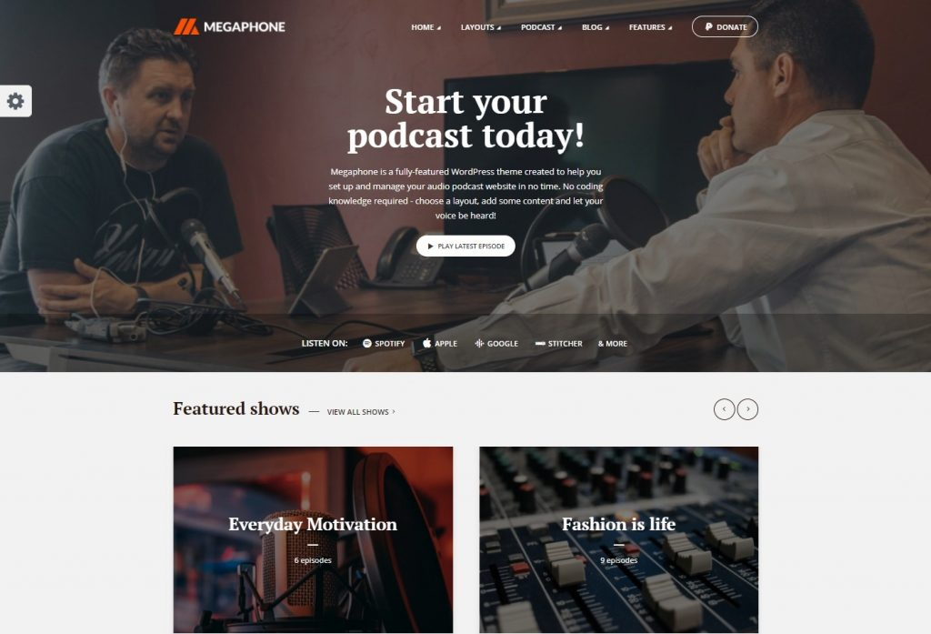 Megaphone – Audio Podcast WordPress Theme
