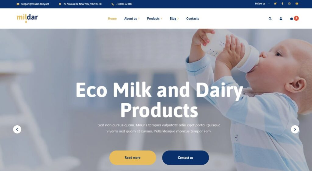 Mildar Eco Milk and Dairy WordPress Theme