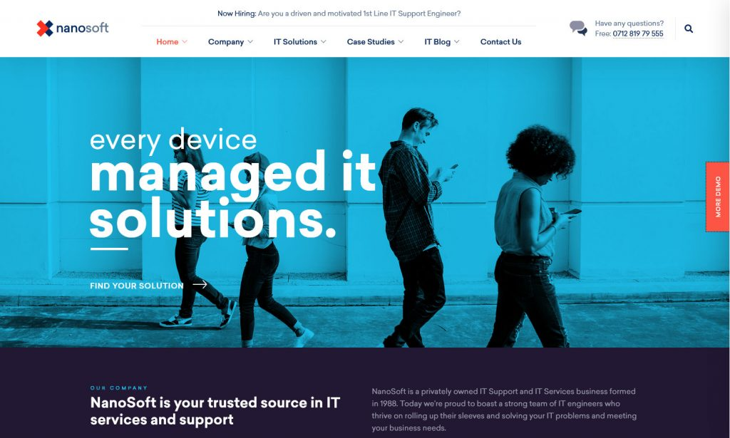 NanoSoft, WordPress theme for IT Solutions and Software Service Companies