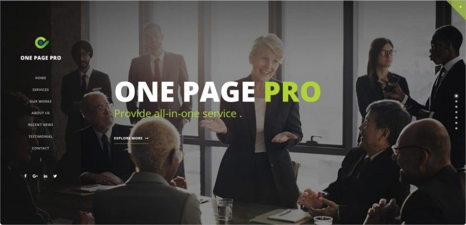 One Page Pro Theme for Single Page Websites
