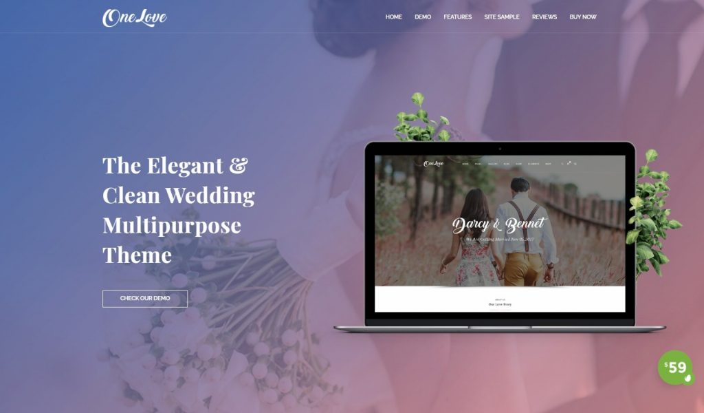 OneLove - The Elegant & Clean Multipurpose Wedding WordPress Theme Preview - ThemeForest