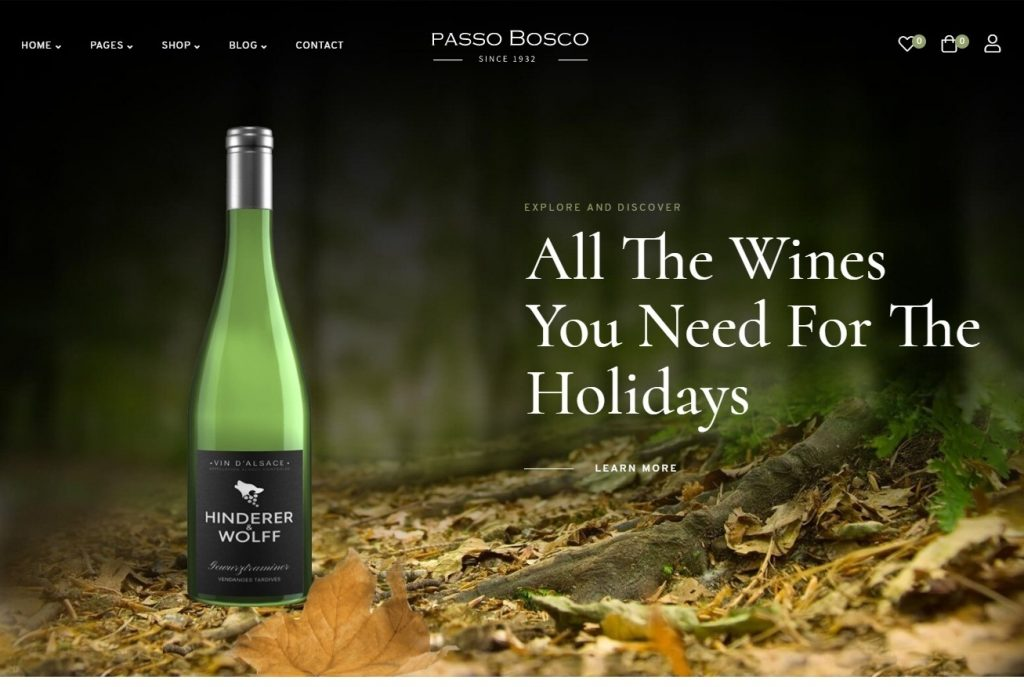 Passo Bosco Wine Shop Theme for WordPress