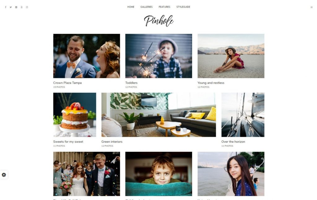 Pinhole Simple Grid Layout Photography Theme
