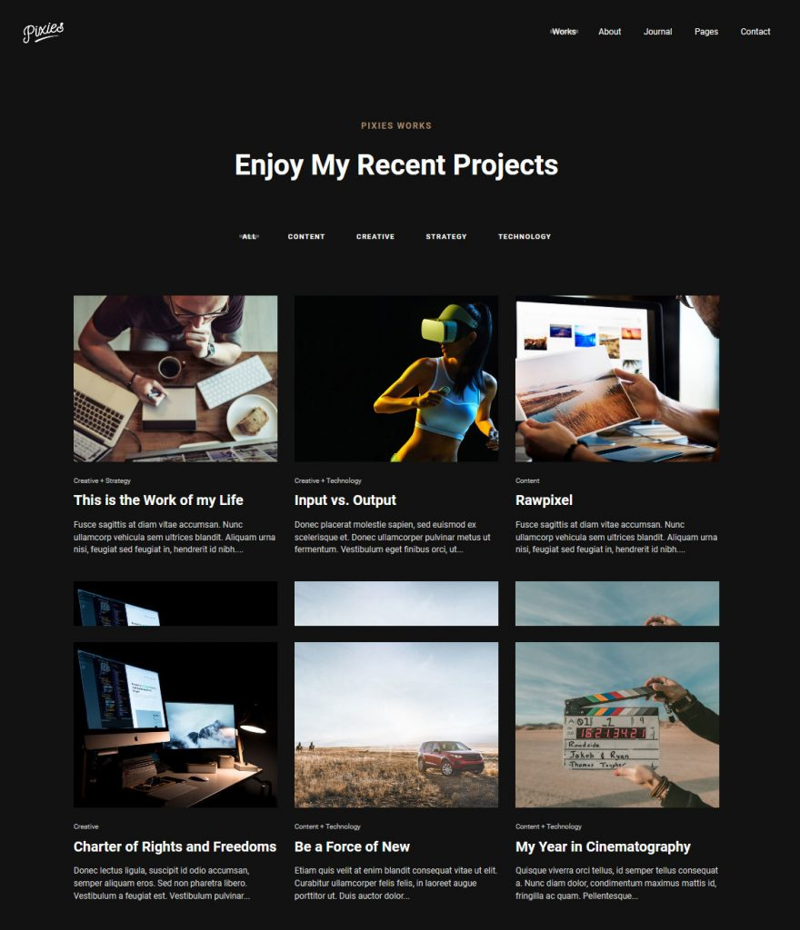 Portfolio Pixies Grid WordPress Themes