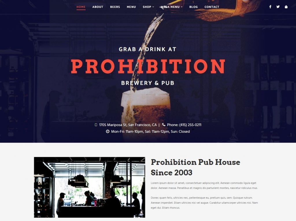 Prohibition Wine Bar Pub and Brewery WordPress Theme