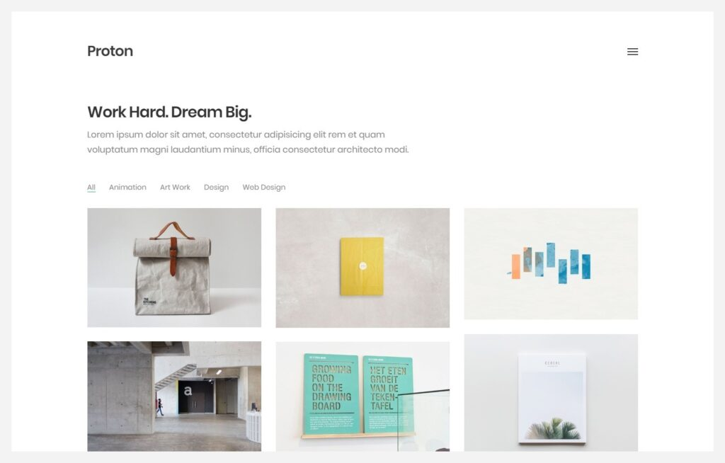 Proton WordPress Minimal Grid Portfolio Theme