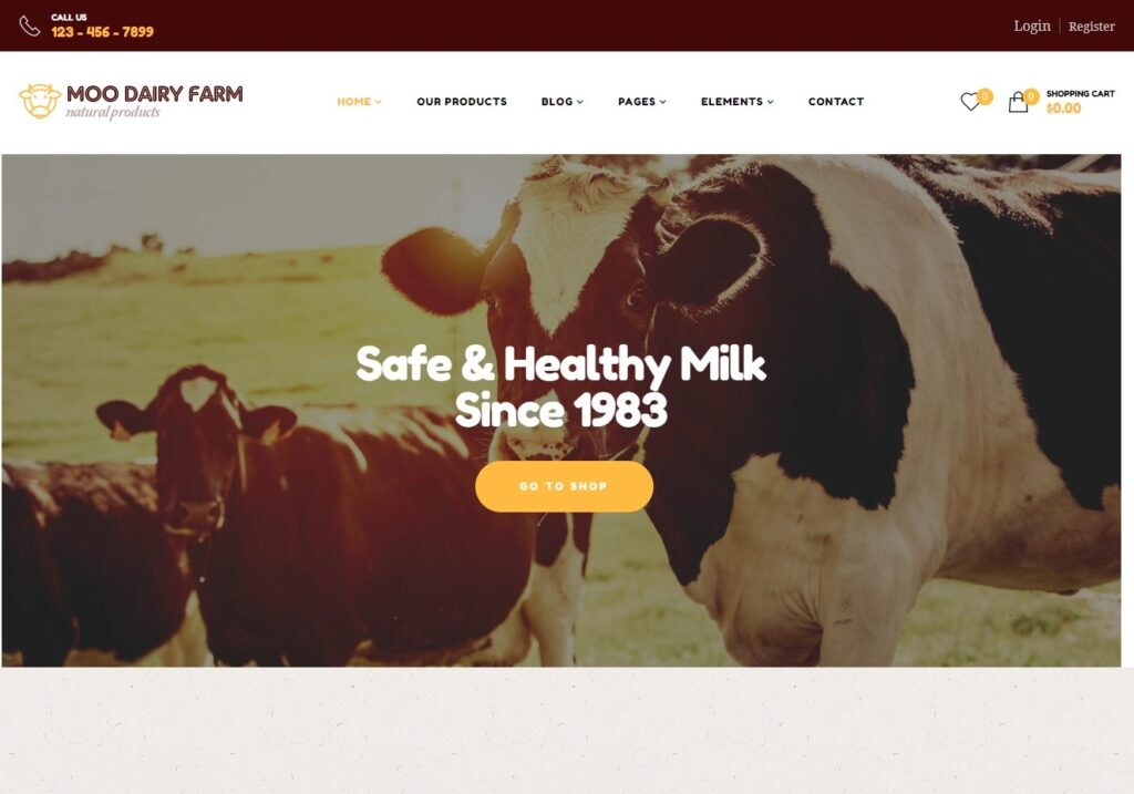 Royan Wine Moo Dairy Farm WordPress Theme