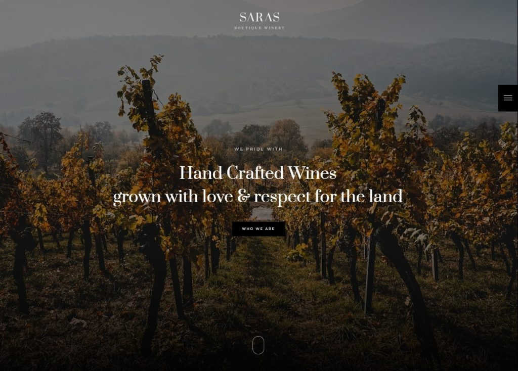 Saras Classy WordPress Theme for Wine Bars and Vinyards
