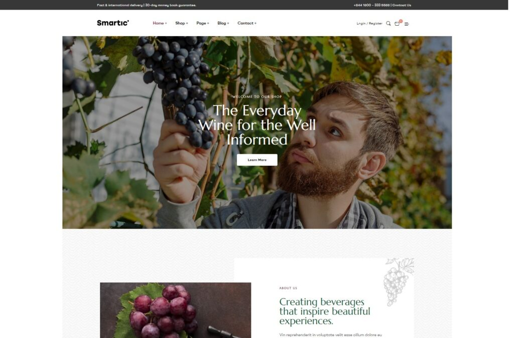 Smartic Winery WordPress Theme