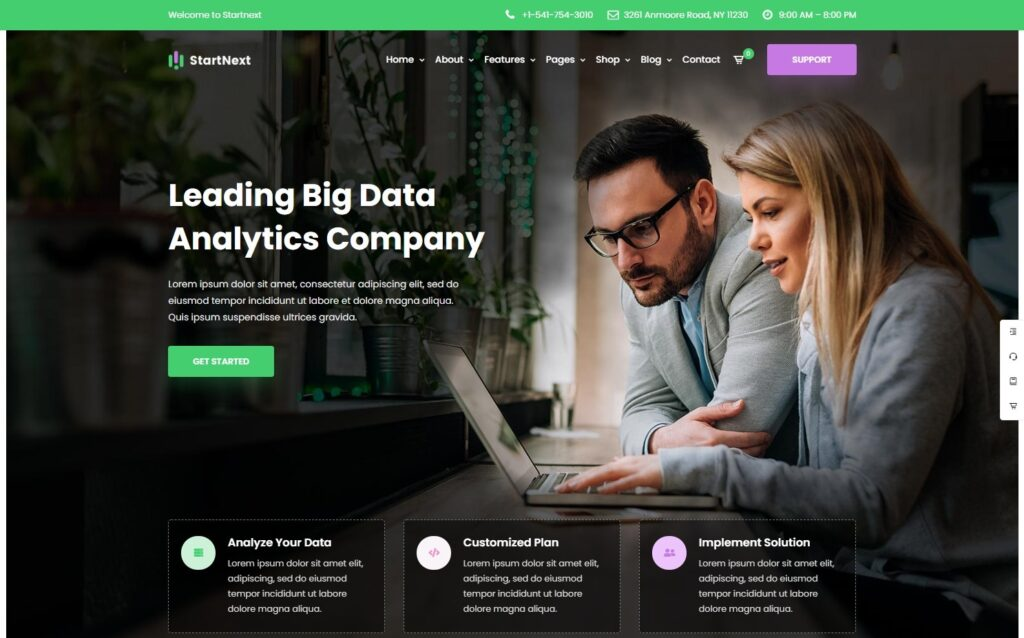 StartNext Business and Data Consulting WordPress Theme