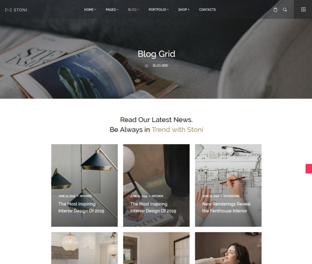 Stoni WordPress Blog Theme with Grid Design