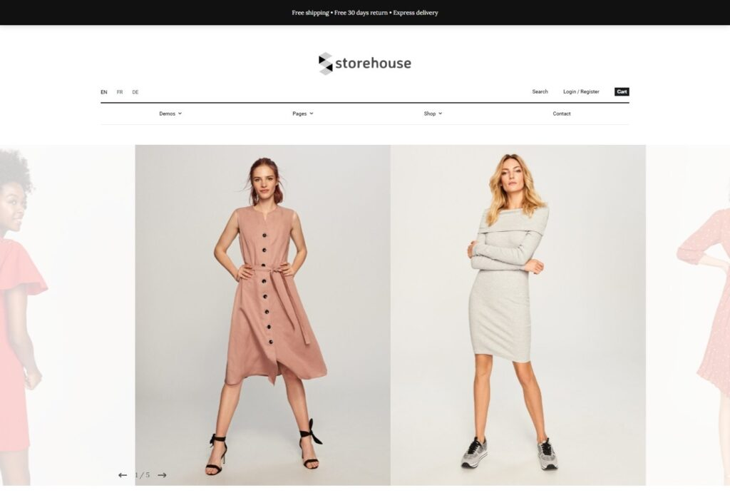 Storehouse clean, well organized online shop theme.
