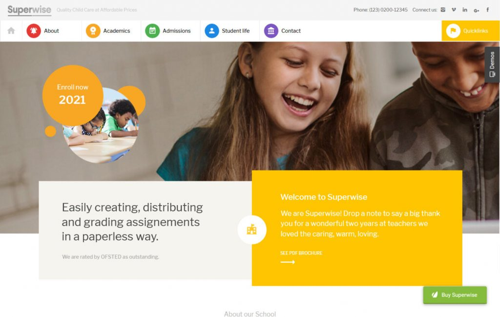 Superwise Modern Education and Google Classroom WordPress Th