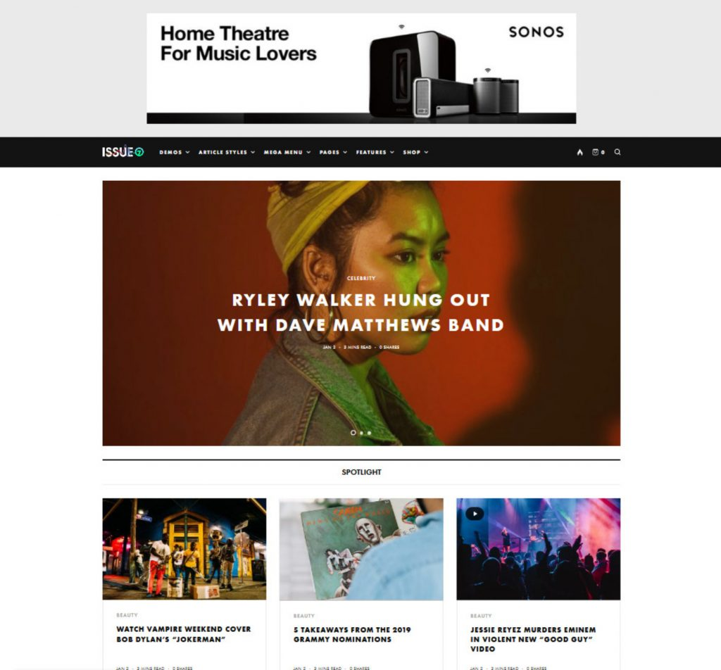 The Issue WordPress Video Blog Theme