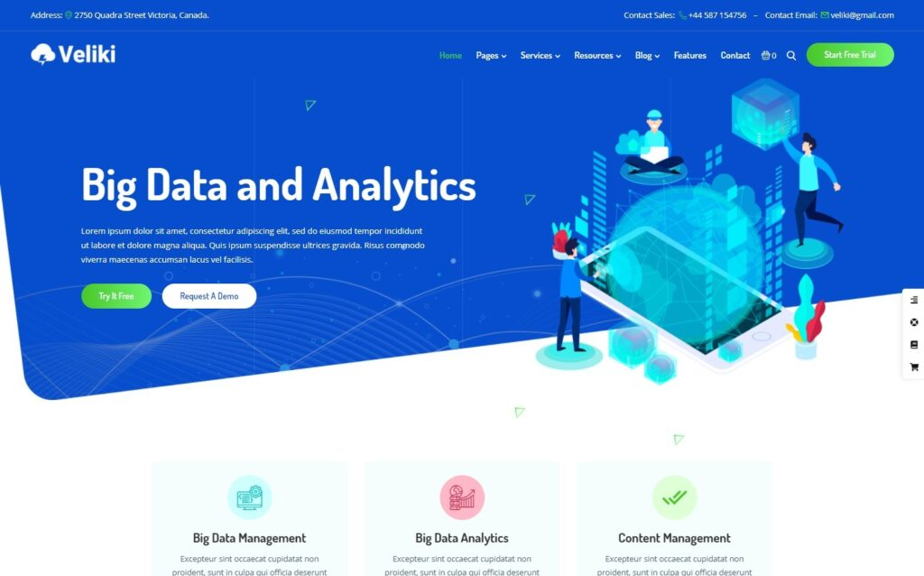 Veliki Big Data Company Startups WordPress Theme