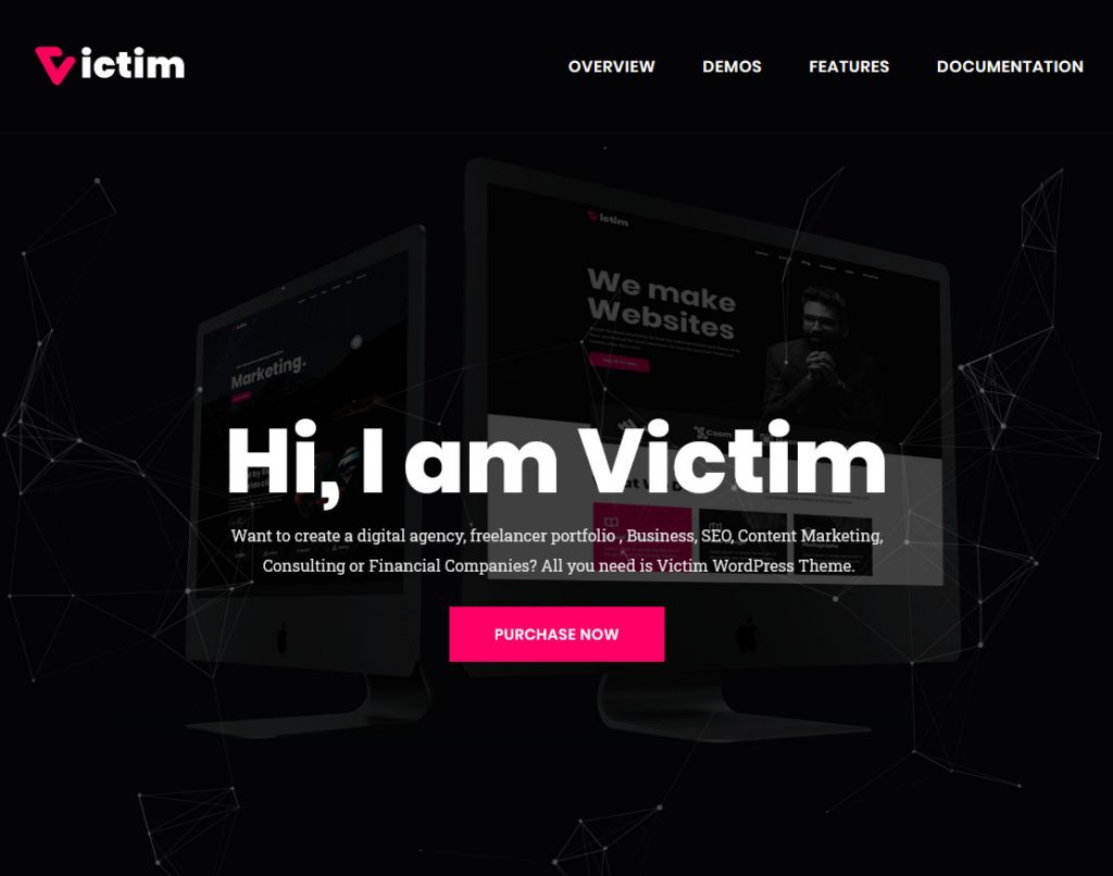 Victim WordPress One Page Themes