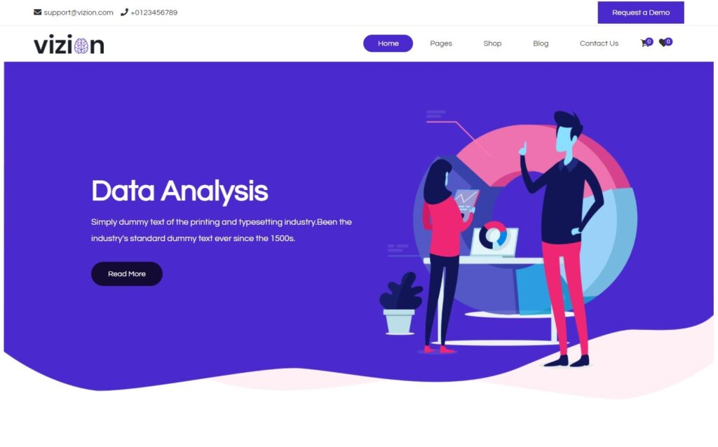 Vizion Data Analysis AI ML Digital Marketing WordPress Theme