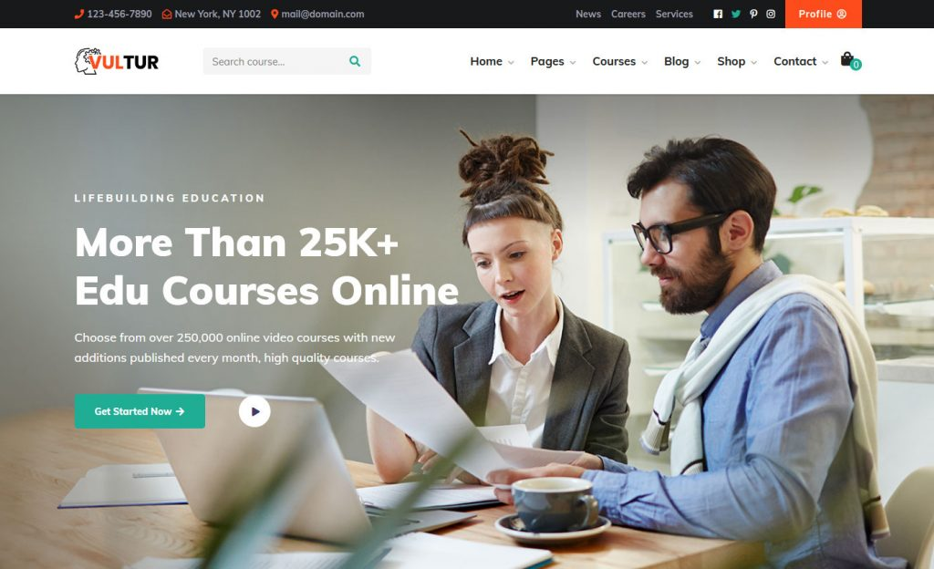 Vultur Online Education WordPress Theme