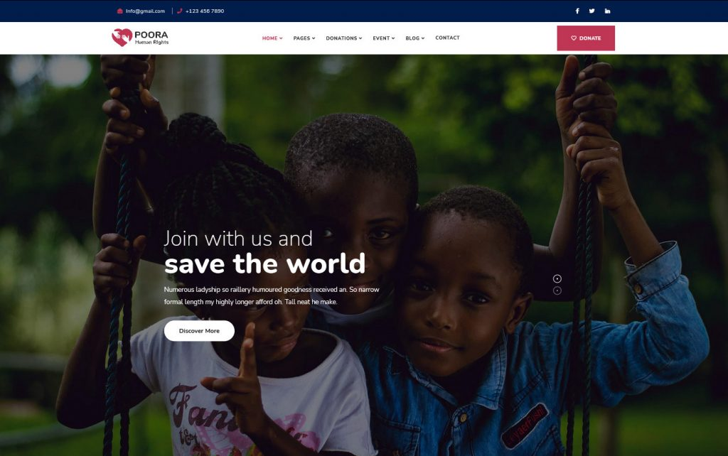 Poora - Fundraising & Charity WordPress Theme Preview