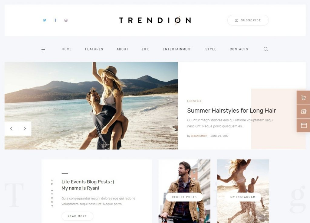 Trendion Personal and Lifestyle Blog Theme for Mothers